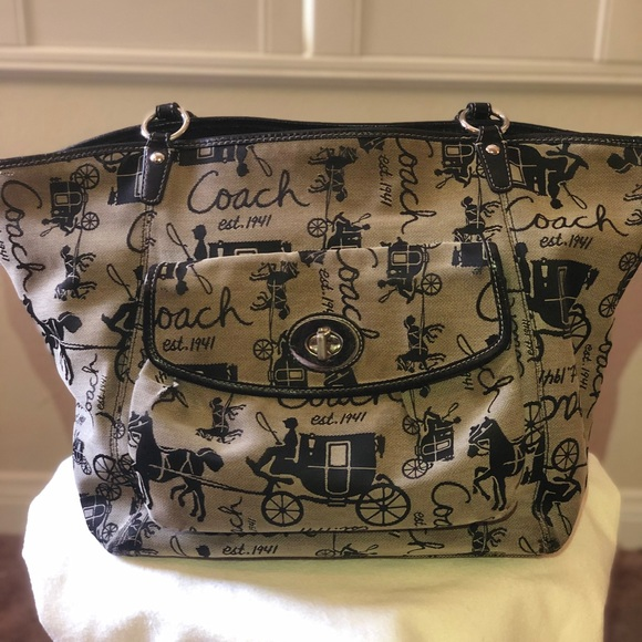 Coach Handbags - COACH Signature Horse Carriage Jacquard Bag